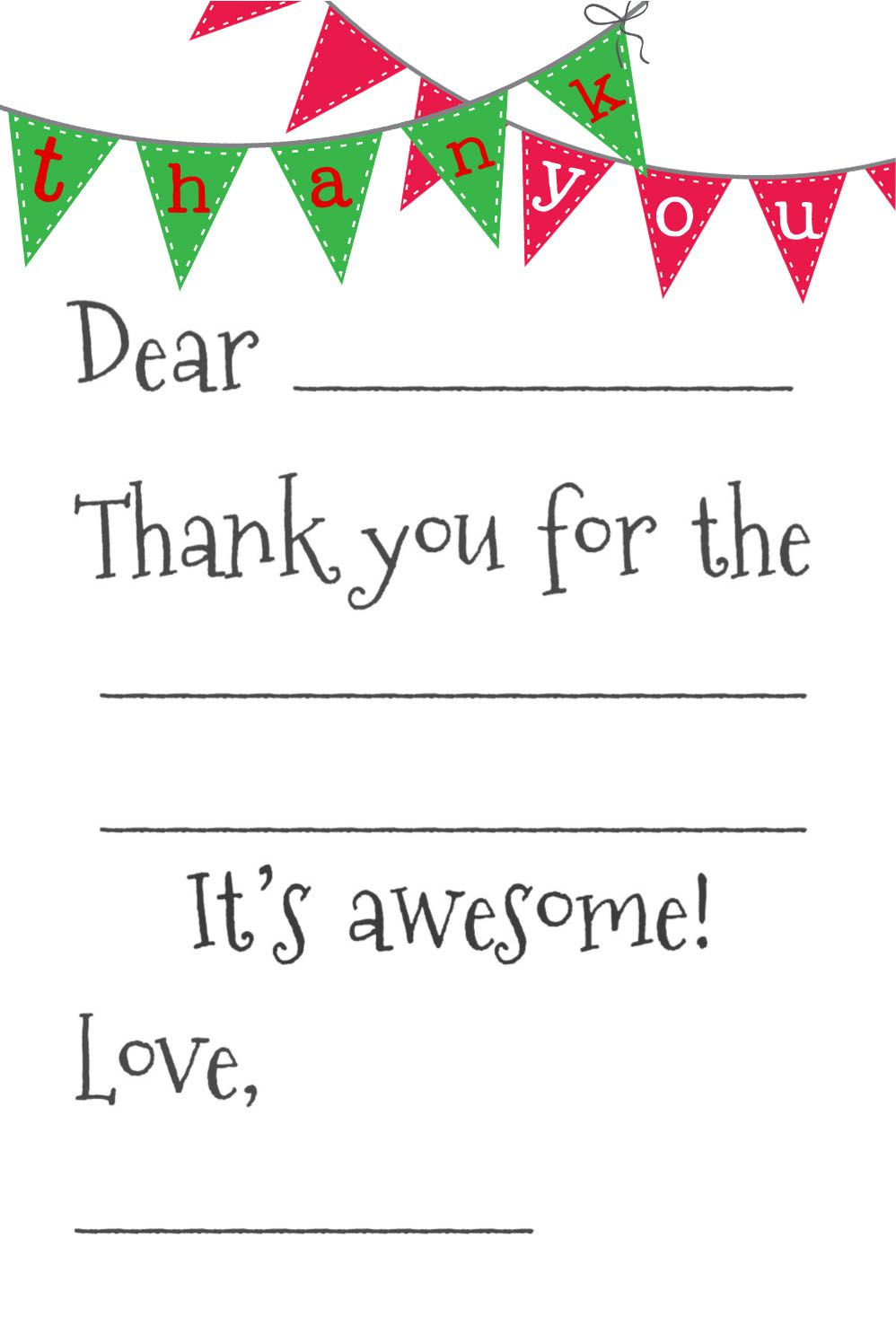 Free Fill-In-The-Blank Thank-You Cards | Printables | Pinterest - Fill In The Blank Thank You Cards Printable Free