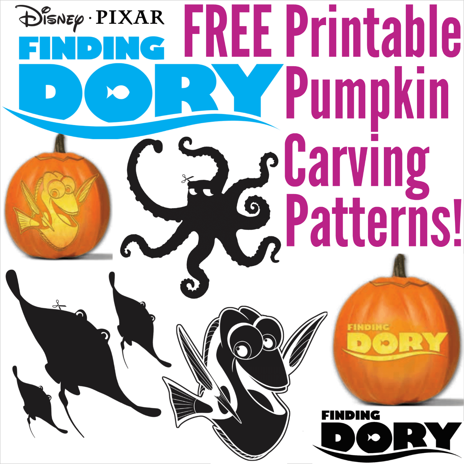 Free Finding Dory Pumpkin Carving Patterns To Print! - Pumpkin Carving Patterns Free Printable