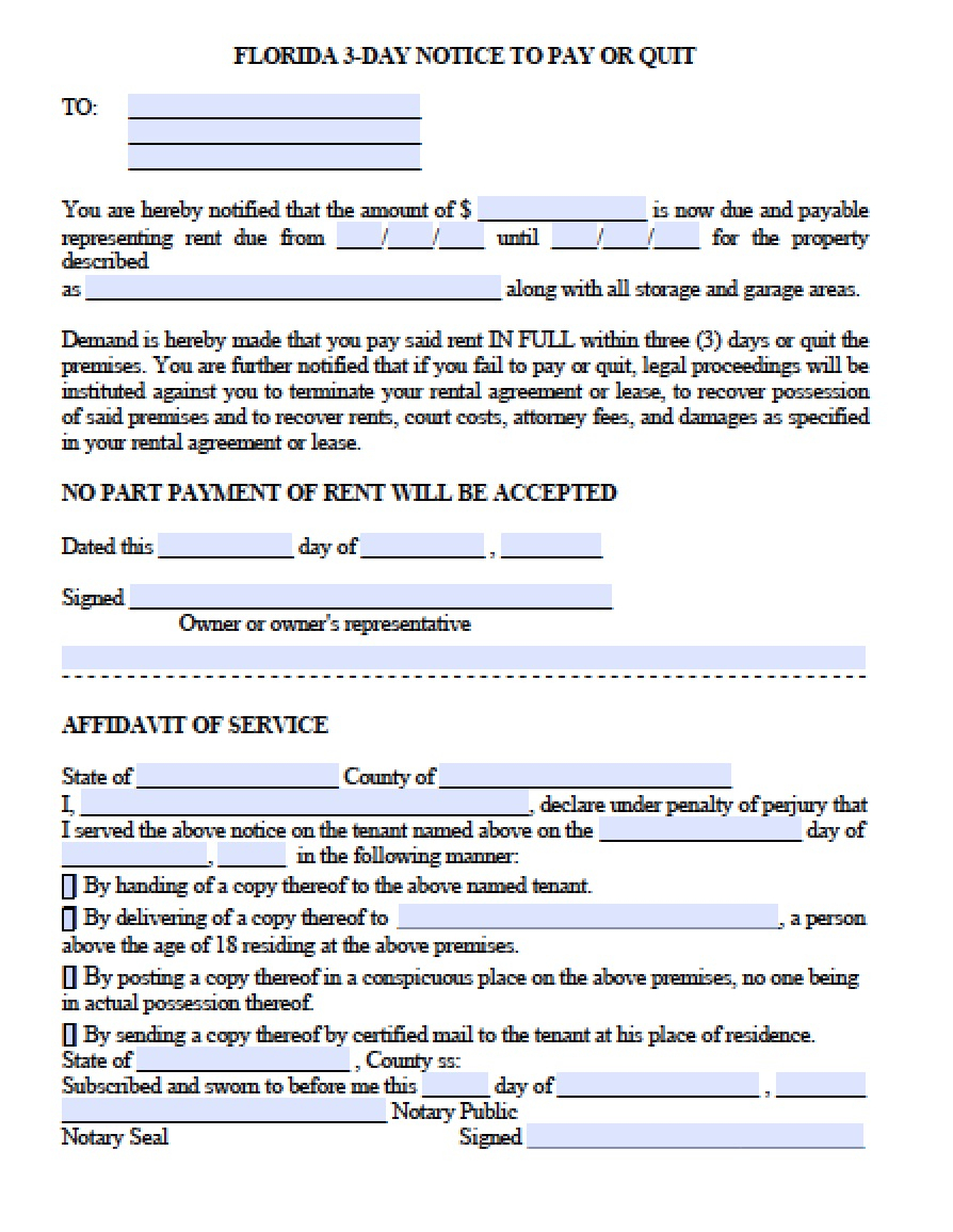 Free Florida Eviction Notice Template | 3 Day Notice To Pay Or Quit - Free Printable 3 Day Eviction Notice