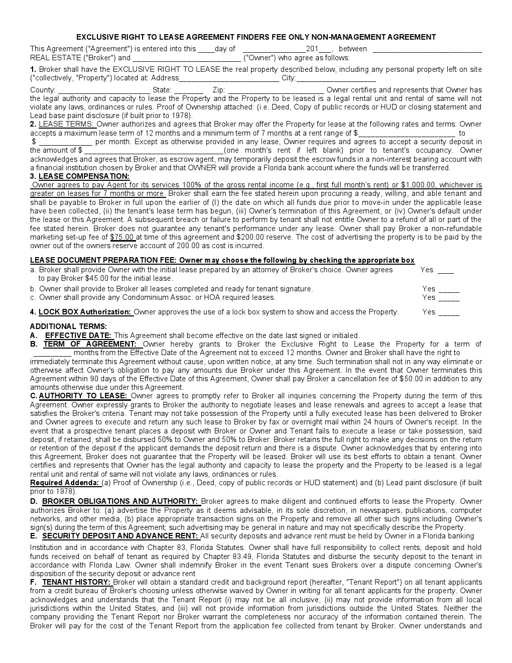 Free Florida Rental Lease Agreement Form | Pdf Template | Form Download - Free Printable Florida Residential Lease Agreement