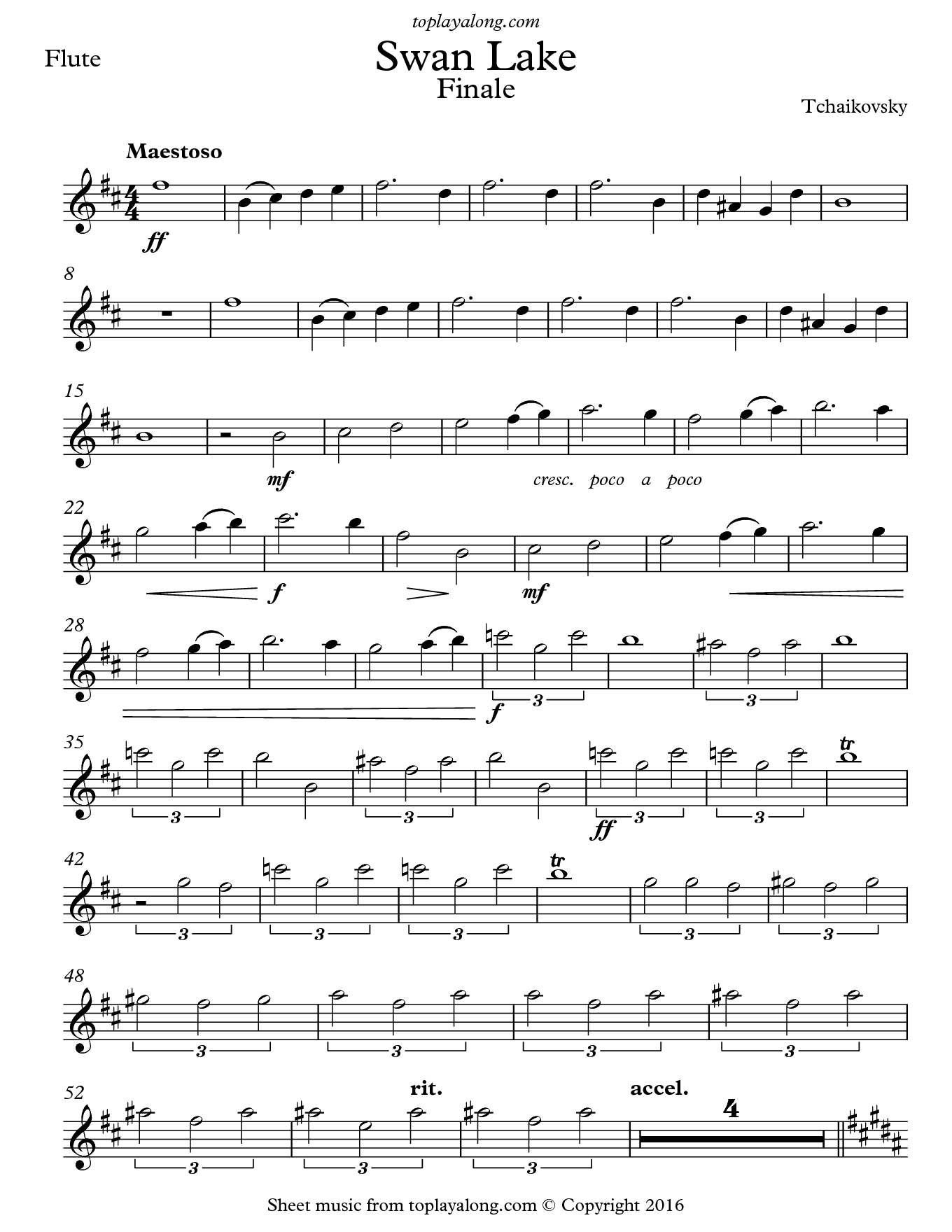 Free Flute Sheet Music For Swan Lake Finaletchaikovsky With - Free Printable Flute Music