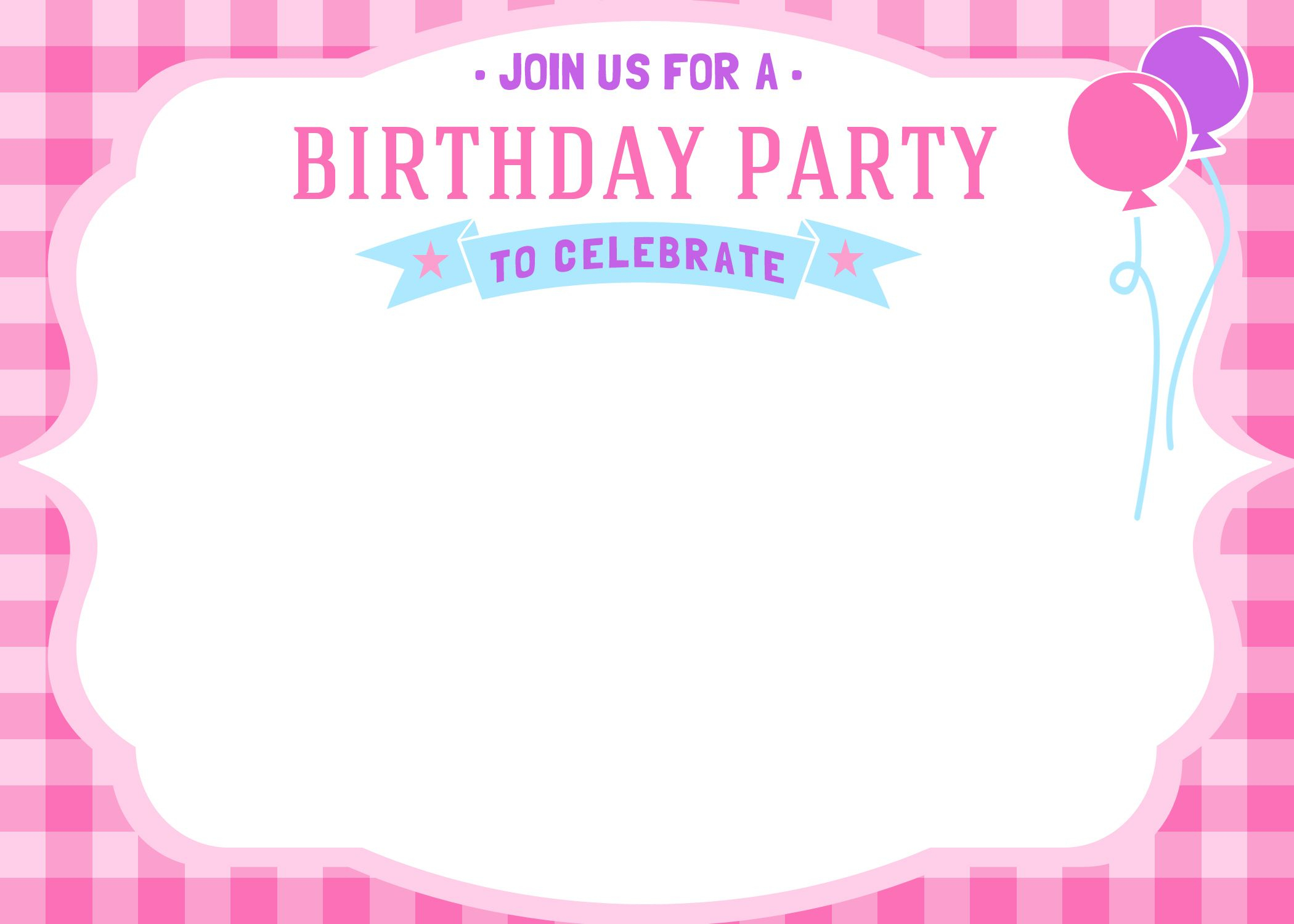 Free Free Printable Girls Birthday Invitations | Bagvania Invitation - Free Printable Girl Birthday Invitations