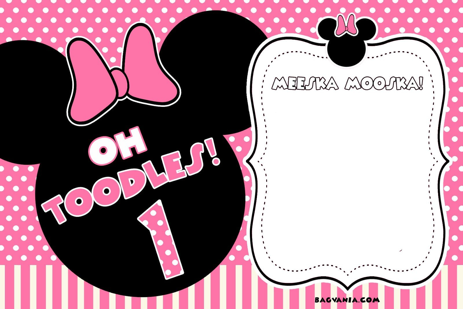 Free Free Printable Minnie Mouse Birthday Invitations | Bagvania - Free Printable Minnie Mouse Party Invitations