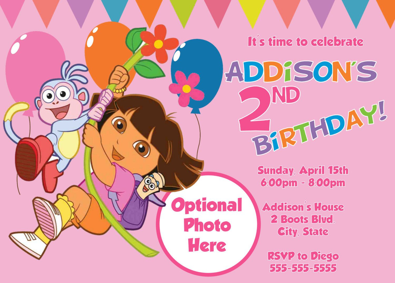 Free Free Template Dora The Explorer Birthday Party Invitations - Dora Birthday Cards Free Printable