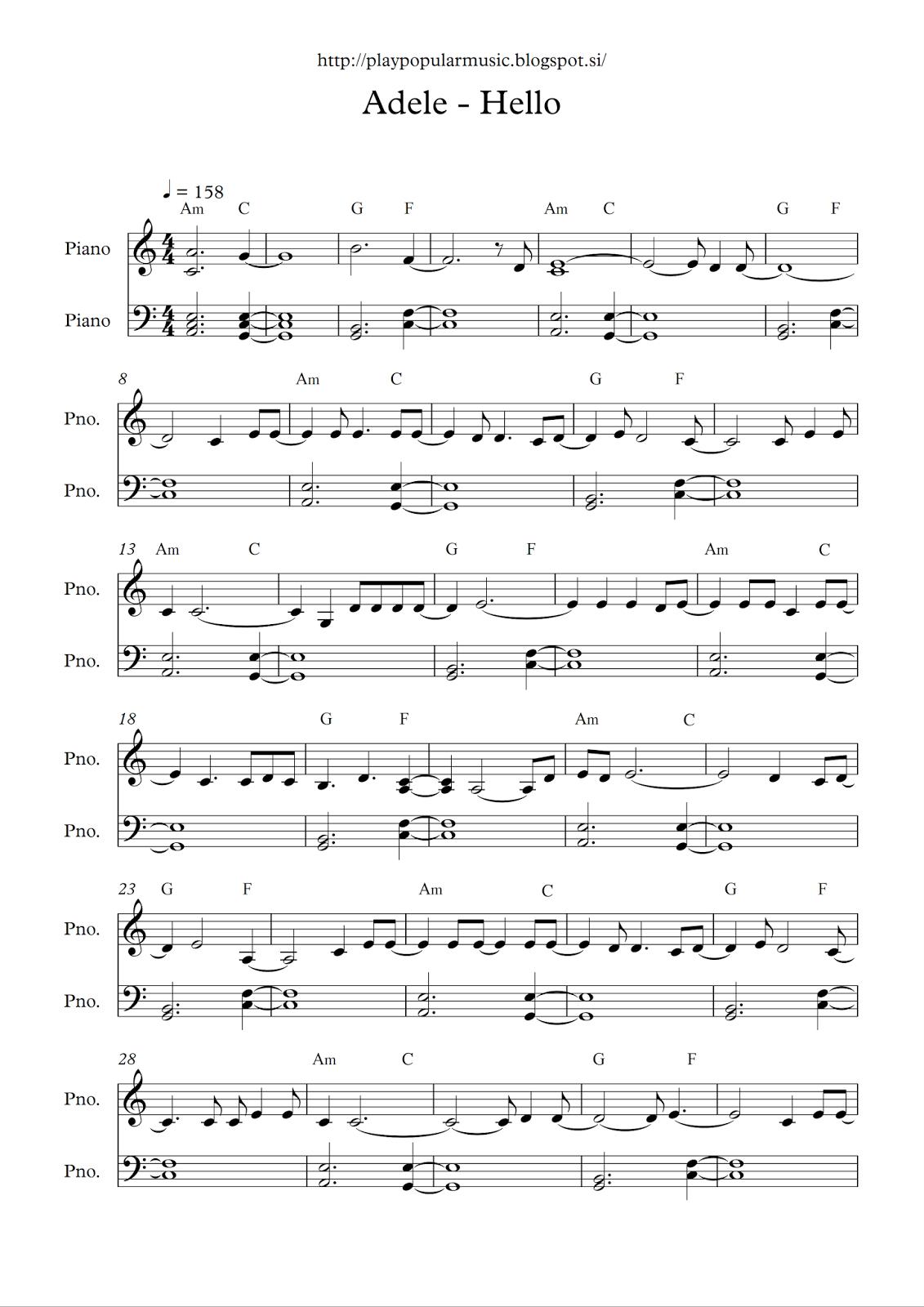 Free Full Piano Sheet Music: Adele - Hello.pdf My Favourite Sentence - Free Printable Music Sheets Pdf