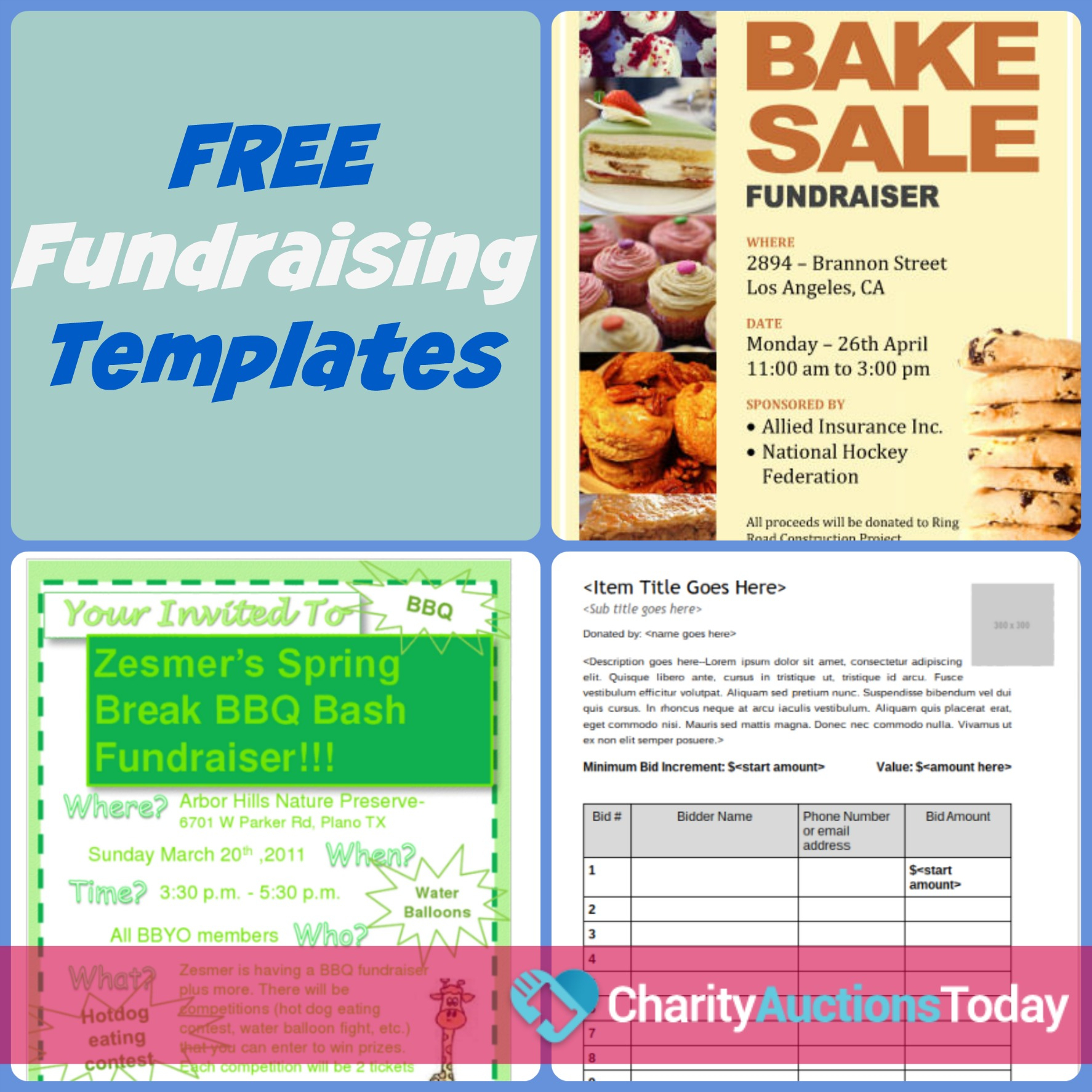 Free Fundraiser Flyer | Charity Auctions Today - Create Your Own Free Printable Flyers