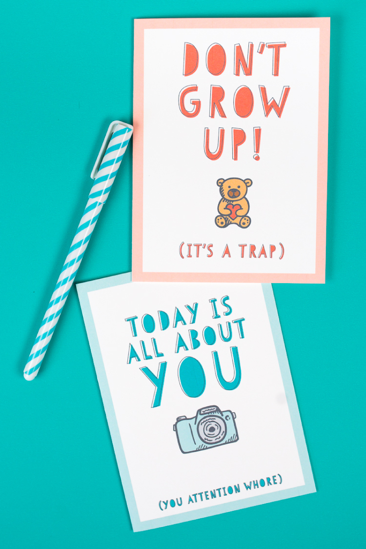 Free Funny Printable Birthday Cards For Adults - Eight Designs! - Free Printable Birthday Cards For Her