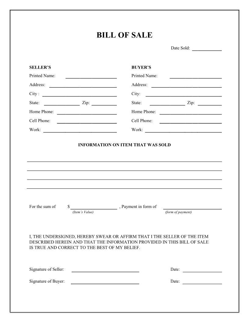 Free General Bill Of Sale Form - Download Pdf | Word - Free Printable Bill Of Sale Form