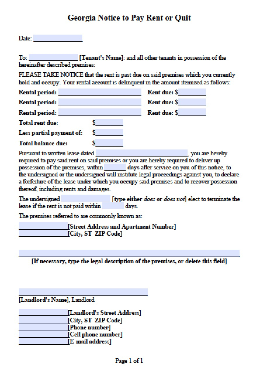Free Georgia Notice To Pay Or Quit | Eviction Notice For Late Rent - Free Printable Blank Eviction Notice