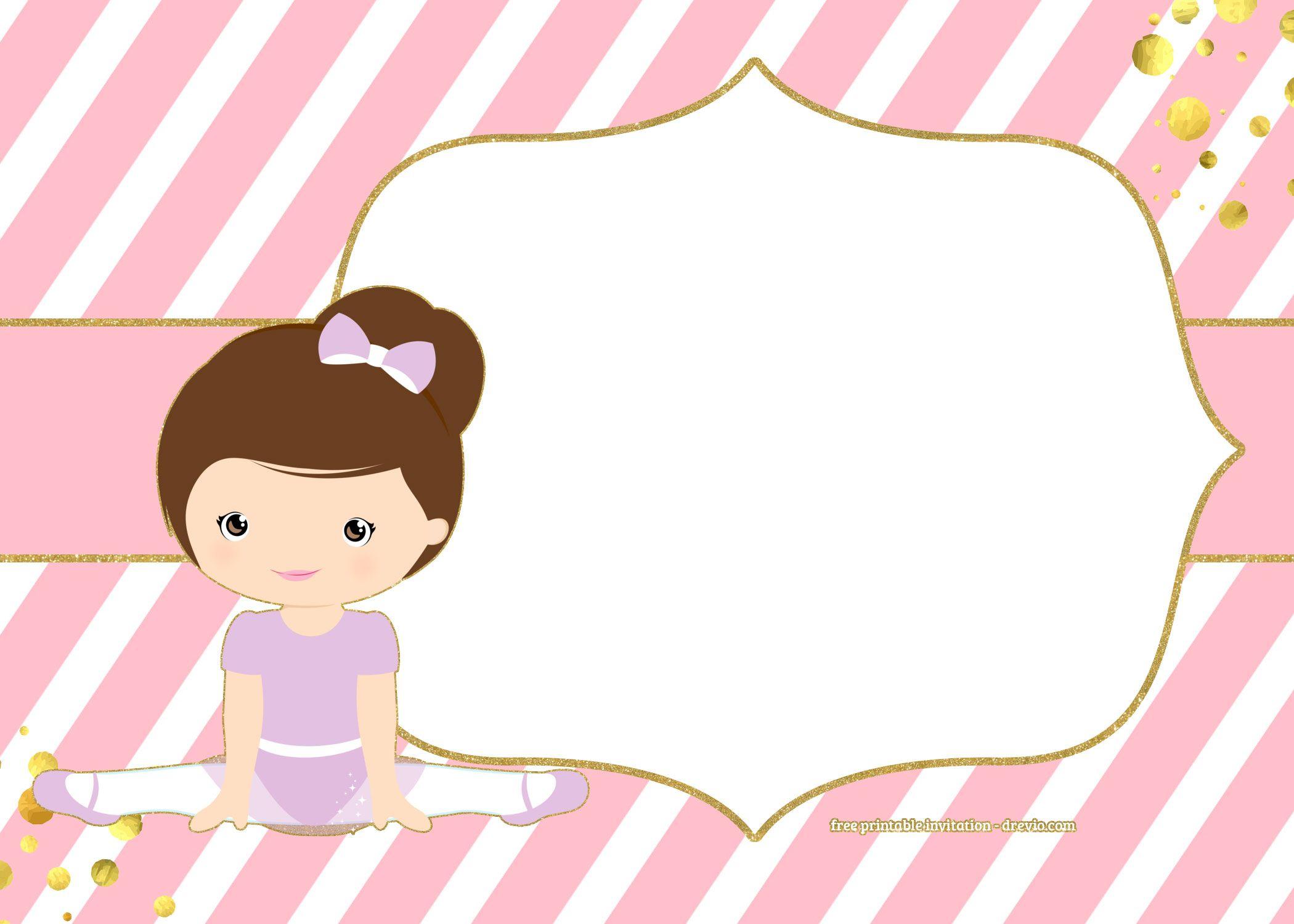Free Golden Ballerina Birthday Invitation | Chip Bags Templates - Free Printable Ballerina Birthday Invitations