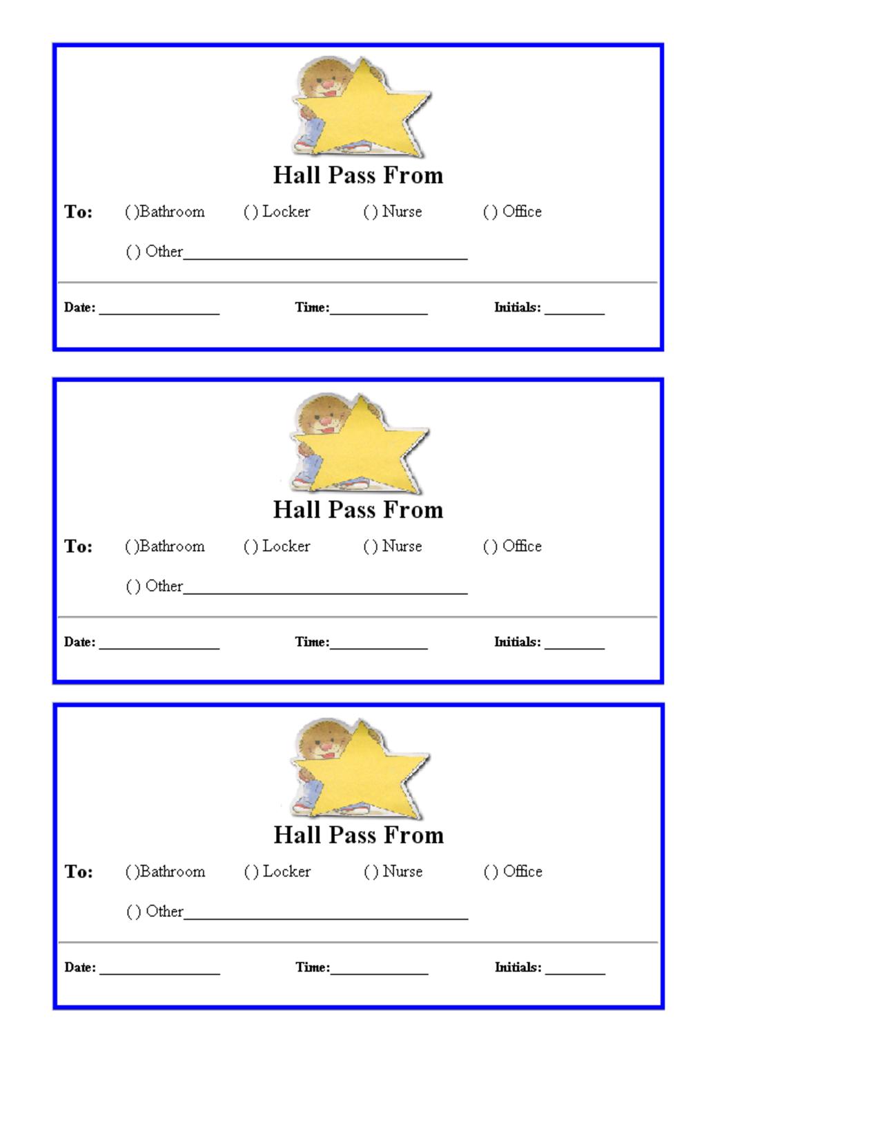 Free Hall Passes For School | Teacher Printables School Hall Passes - Free Printable Hall Pass Template