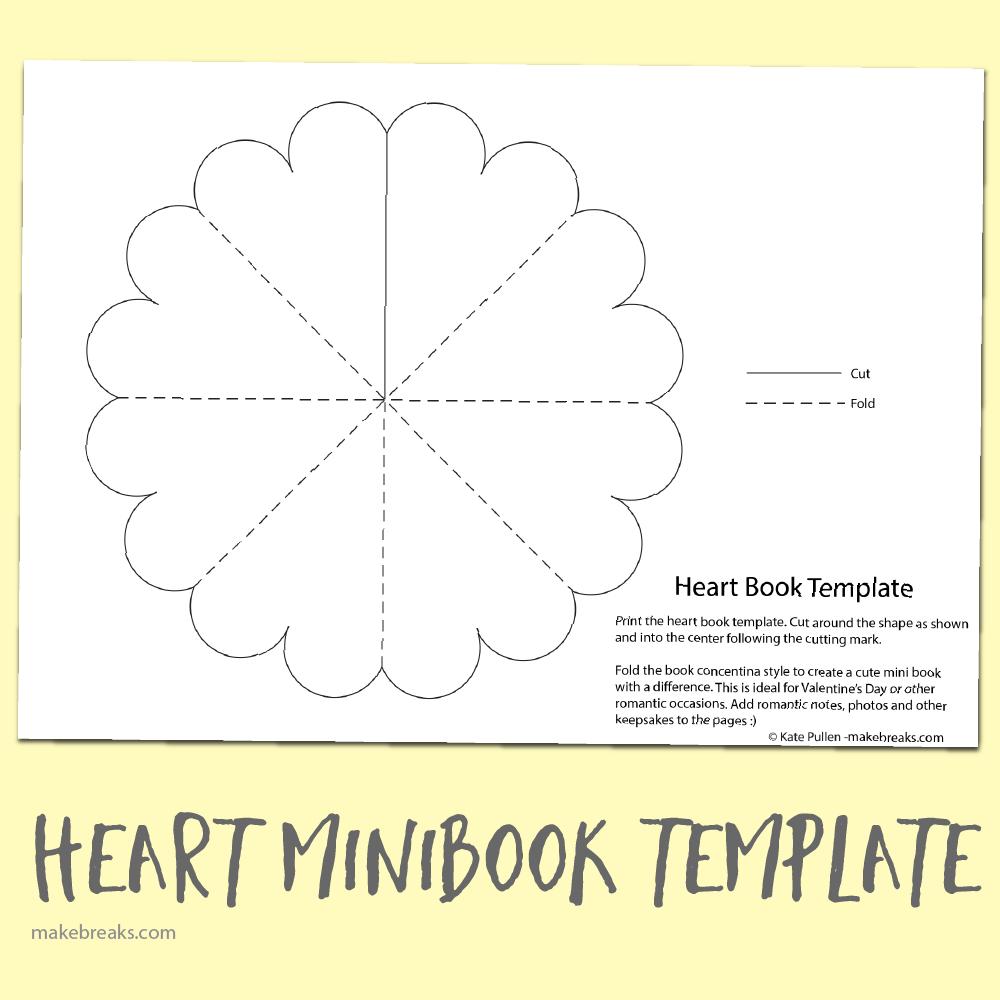 Free Heart Minibook Template   Teaching   Mini Books, Heart Shapes - Free Printable Mini Books