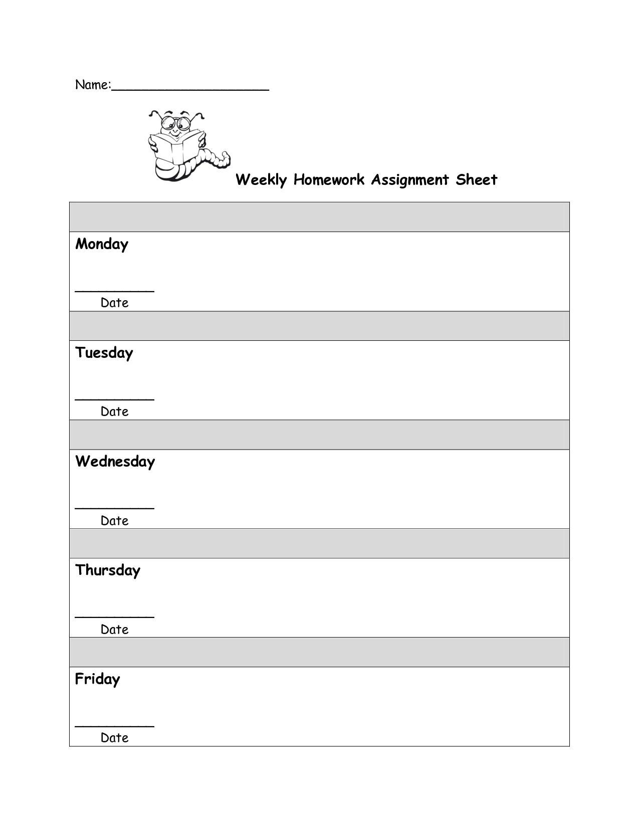 Free Homework Assignment Sheet Template Cakepins | Reading - Free Printable Homework Assignment Sheets