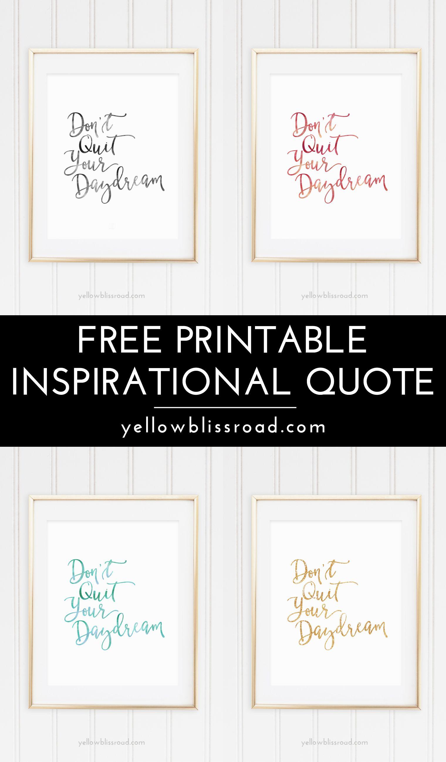 Free Inspiration Quote Printable | Free Printable Wall Art, Quotes - Free Printable Quotes Templates