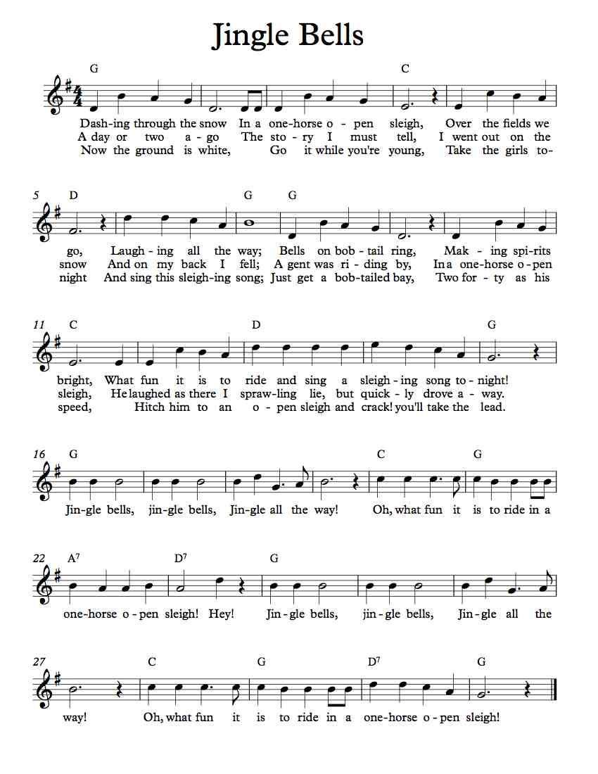 Free Lead Sheet – Jingle Bells | Free Lead Sheets | Music, Lead - Free Printable Sheet Music Lyrics