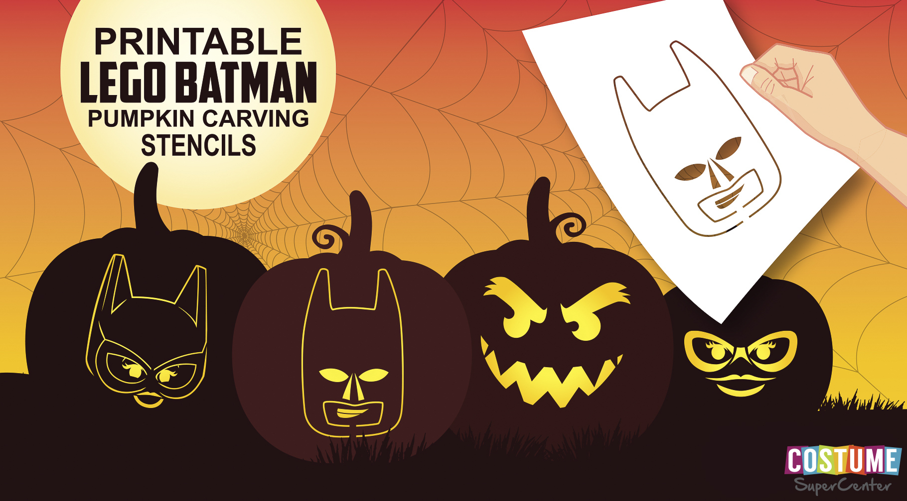 Free Lego Batman Pumpkin Carving Stencils | Costume Supercenter Blog - Superhero Pumpkin Stencils Free Printable