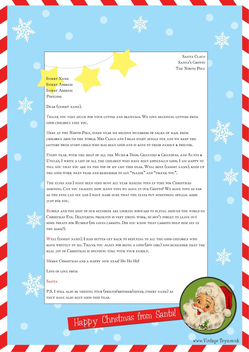 "Free ""Letter From Santa"" Template For You To Download And Edit - Free Personalized Printable Letters From Santa Claus"