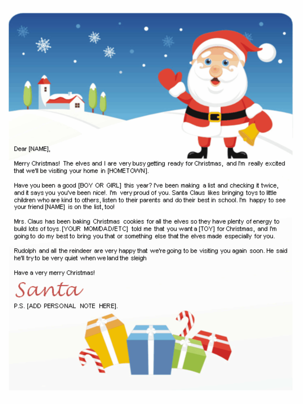 Free Letters From Santa   Santa Letters To Print At Home - Gifts - Free Printable Christmas Letters From Santa