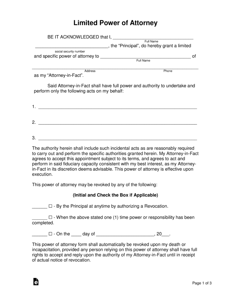 Free Limited (Special) Power Of Attorney Forms - Pdf | Word | Eforms - Free Printable Power Of Attorney Form Washington State