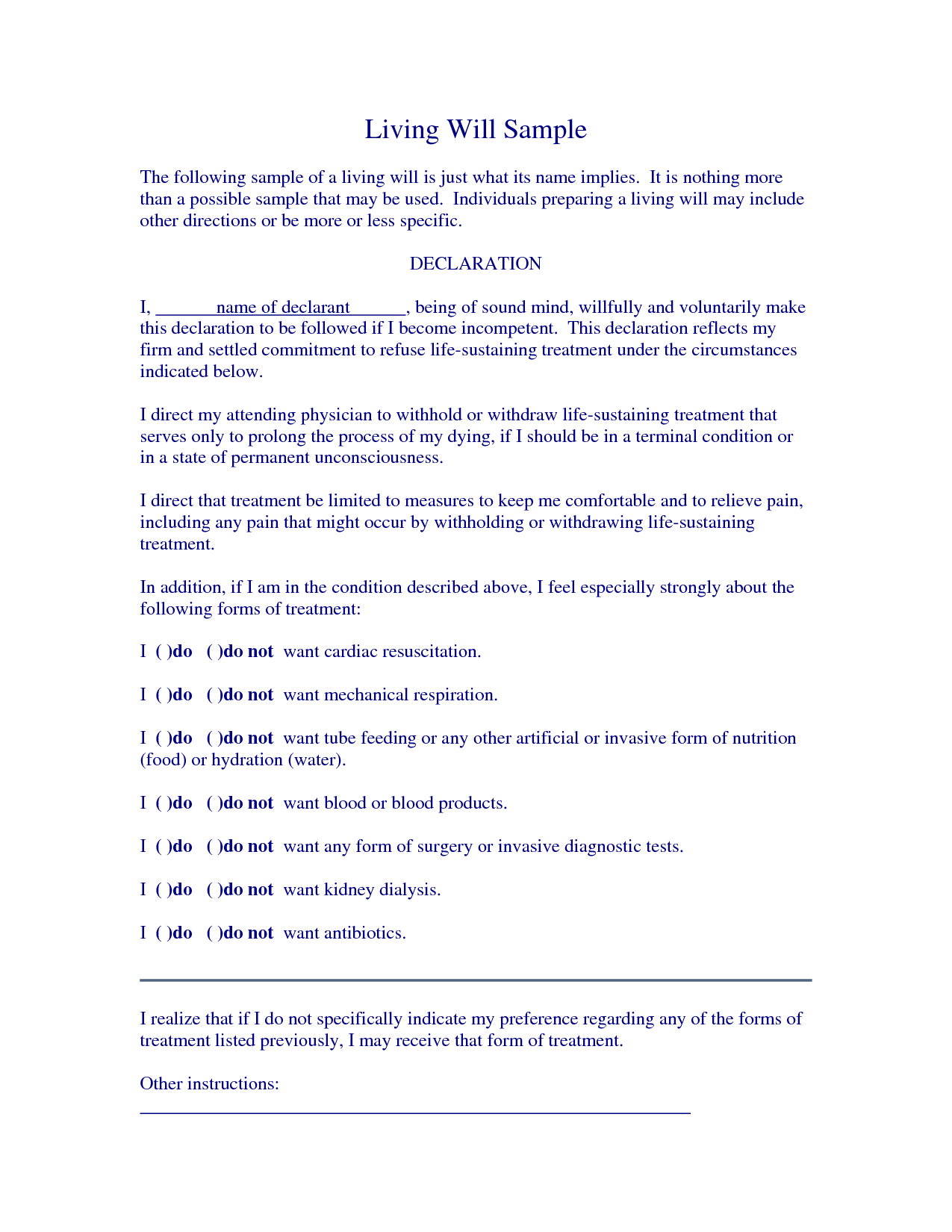 Free Living Will Samplescrizlap - Living Will Examples | Legal - Free Printable Living Will