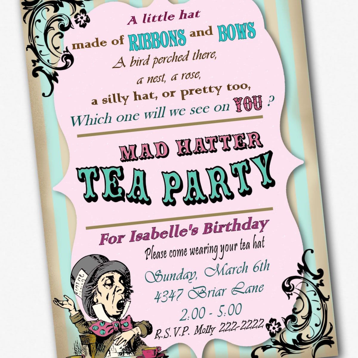Free Mad Hatter Tea Party Invitation Template Awesome Mad Hatter Tea - Mad Hatter Tea Party Invitations Free Printable