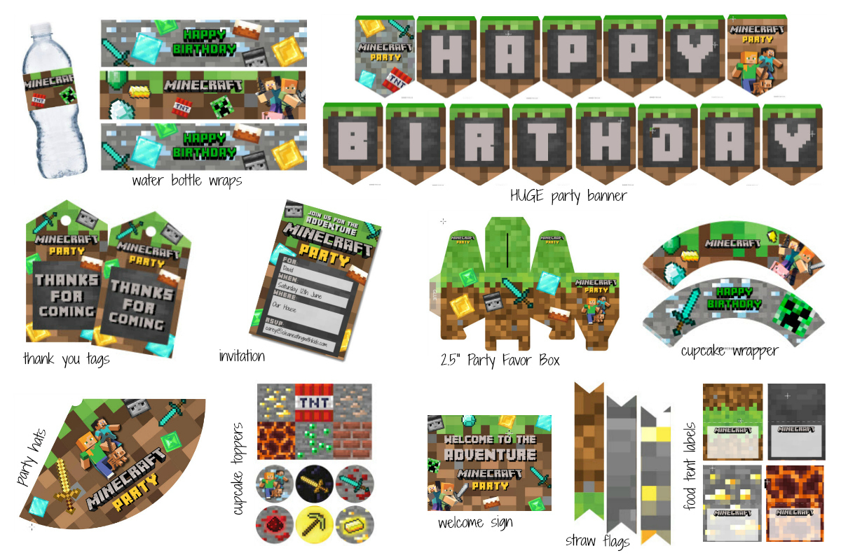 Free! Massive Minecraft Printable Party Pack - Clean Eating With Kids - Free Printable Minecraft Cupcake Toppers And Wrappers
