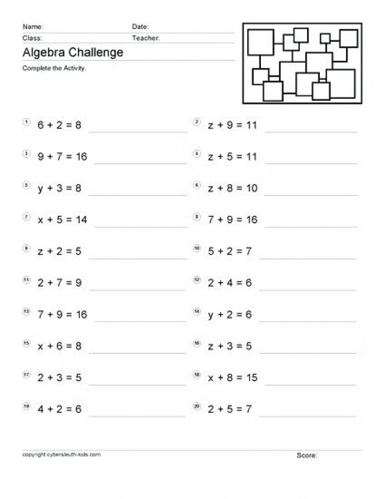 Free Math Worksheets Grade 4 Algebra | Download Them And Try To - Free Printable Algebra Worksheets Grade 6