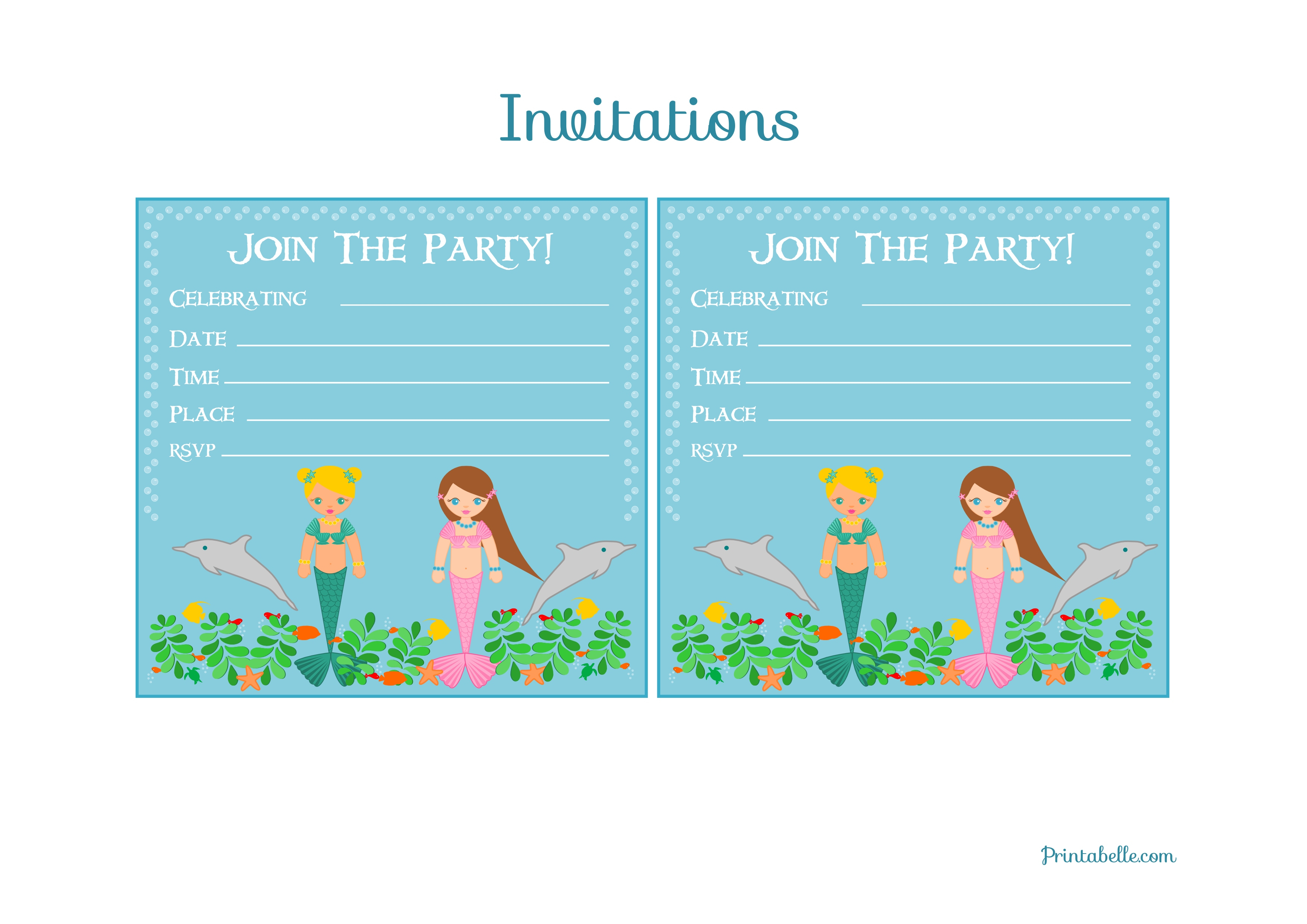 Free Mermaid Birthday Party Printables From Printabelle | Catch My Party - Mermaid Birthday Invitations Free Printable