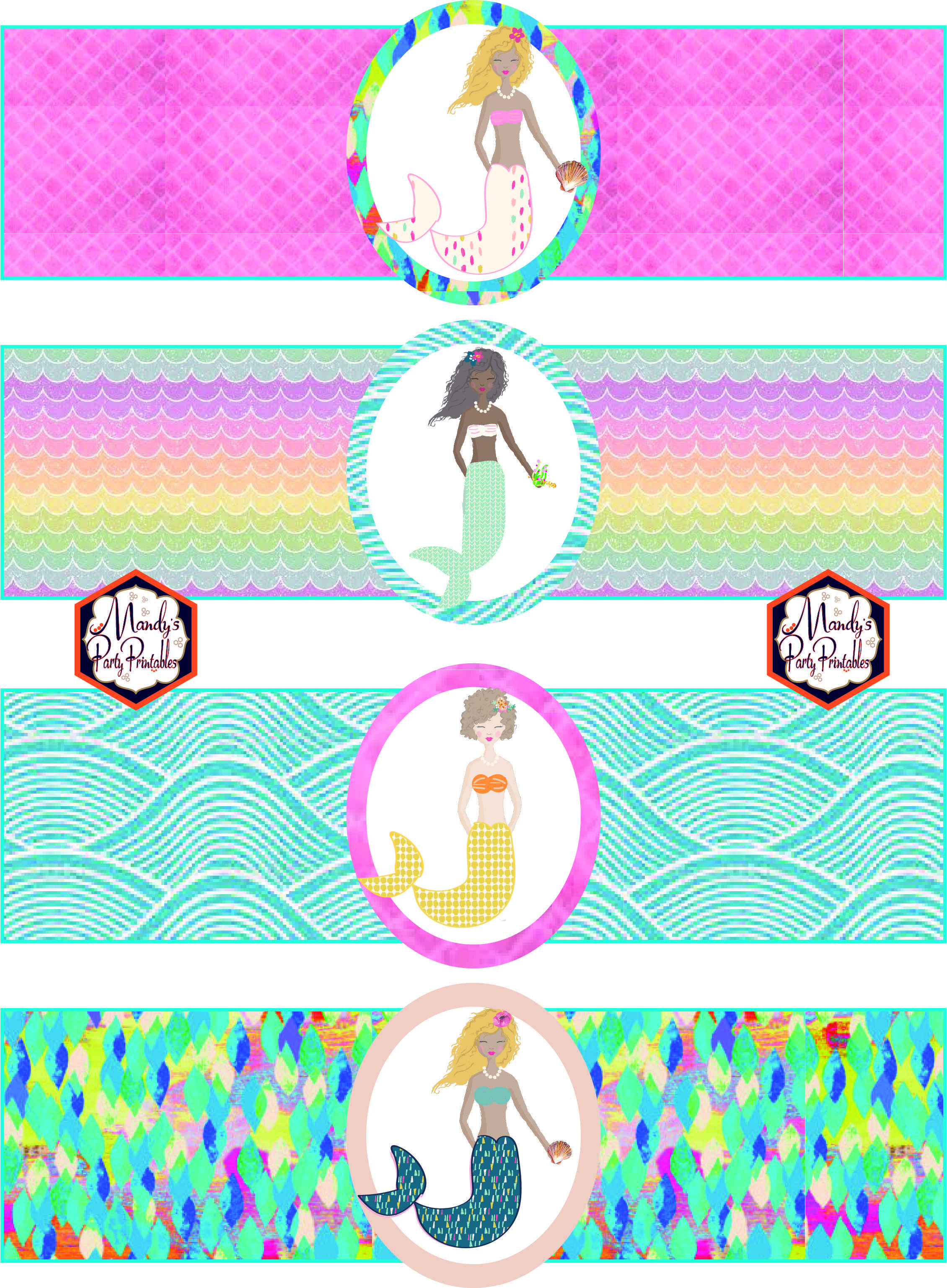 Free Mermaid Birthday Party Printables   Party Printables - Free Printable Little Mermaid Water Bottle Labels