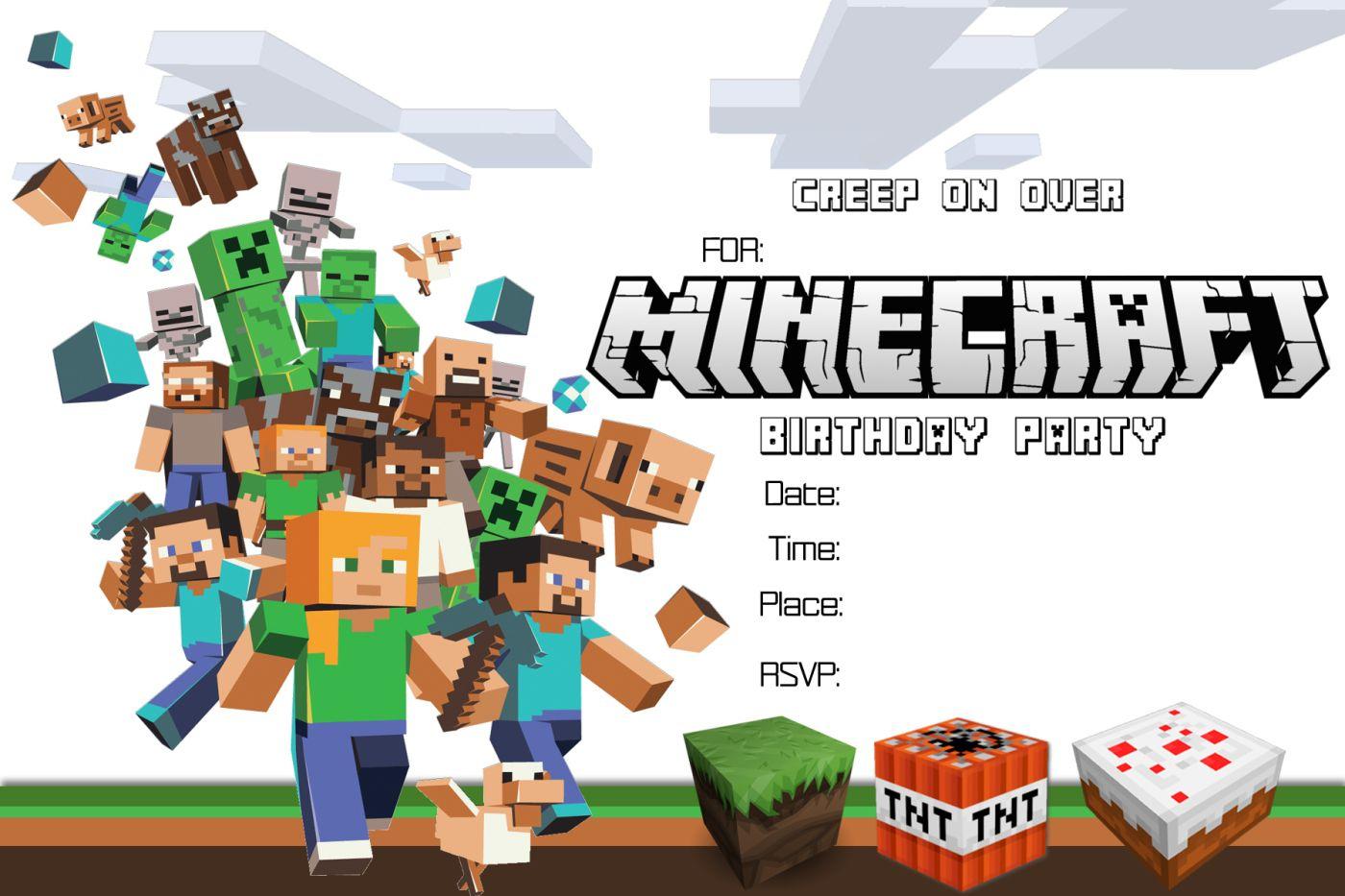 Free Minecraft Birthday Invitation Printable!!!! | Craftysusanita - Free Printable Minecraft Birthday Party Invitations Templates