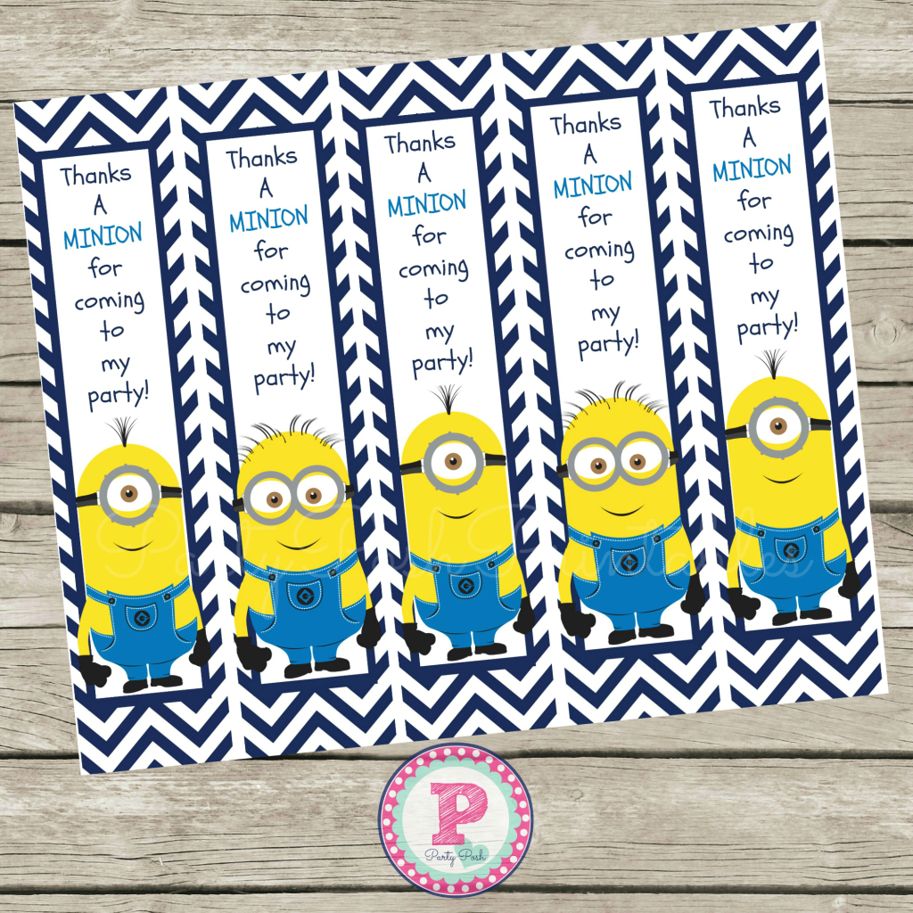 Free Minion Thanks A Minion For Coming To My Party Bookmarks - Thanks A Minion Free Printable