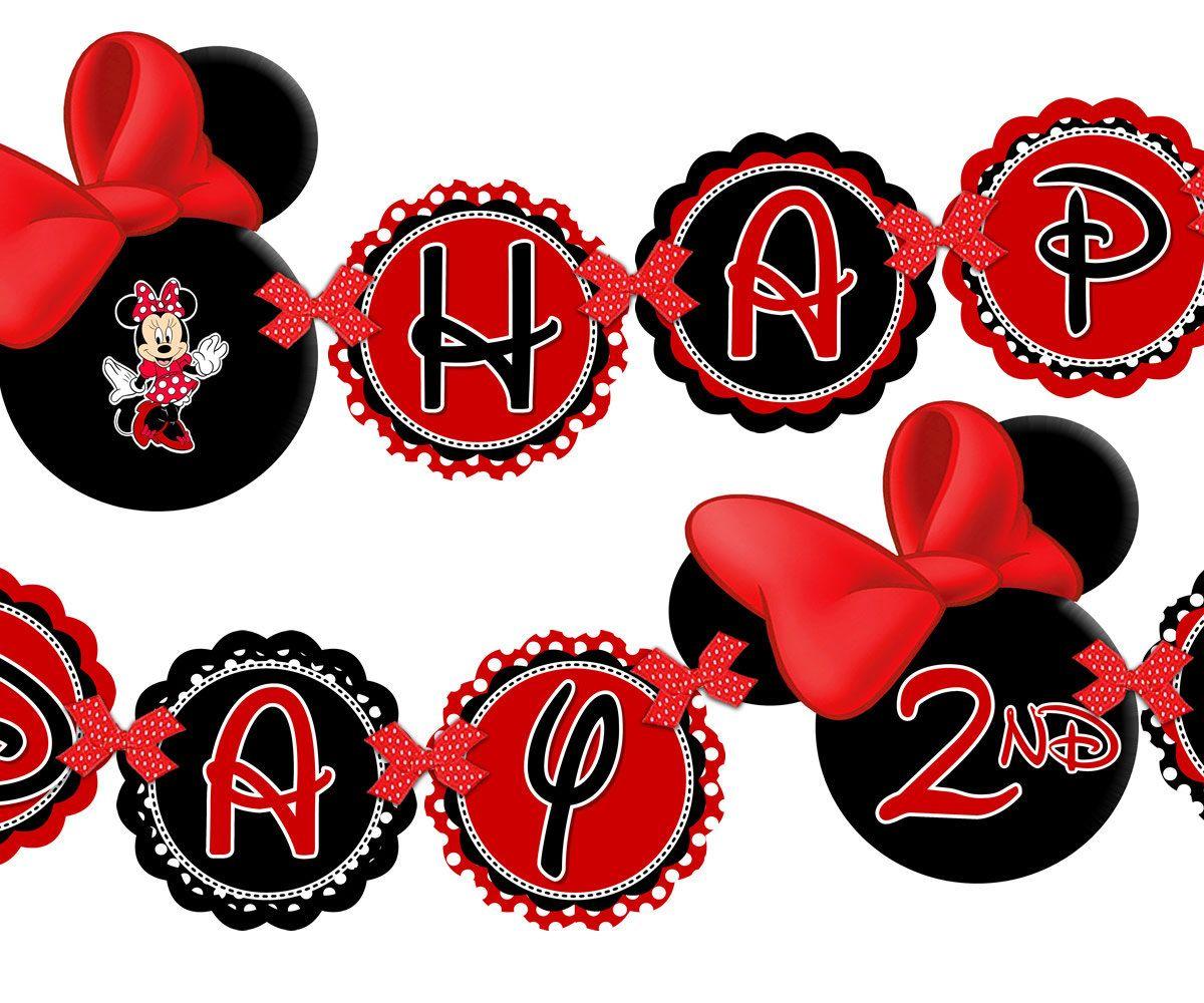 Free Minnie Mouse Birthday Printables | Minnie Mouse Happy Birthday - Free Printable Minnie Mouse Birthday Banner