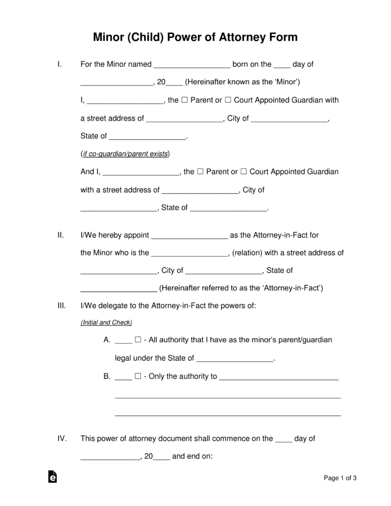 Free Minor (Child) Power Of Attorney Forms - Pdf | Word | Eforms - Free Printable Legal Documents Forms