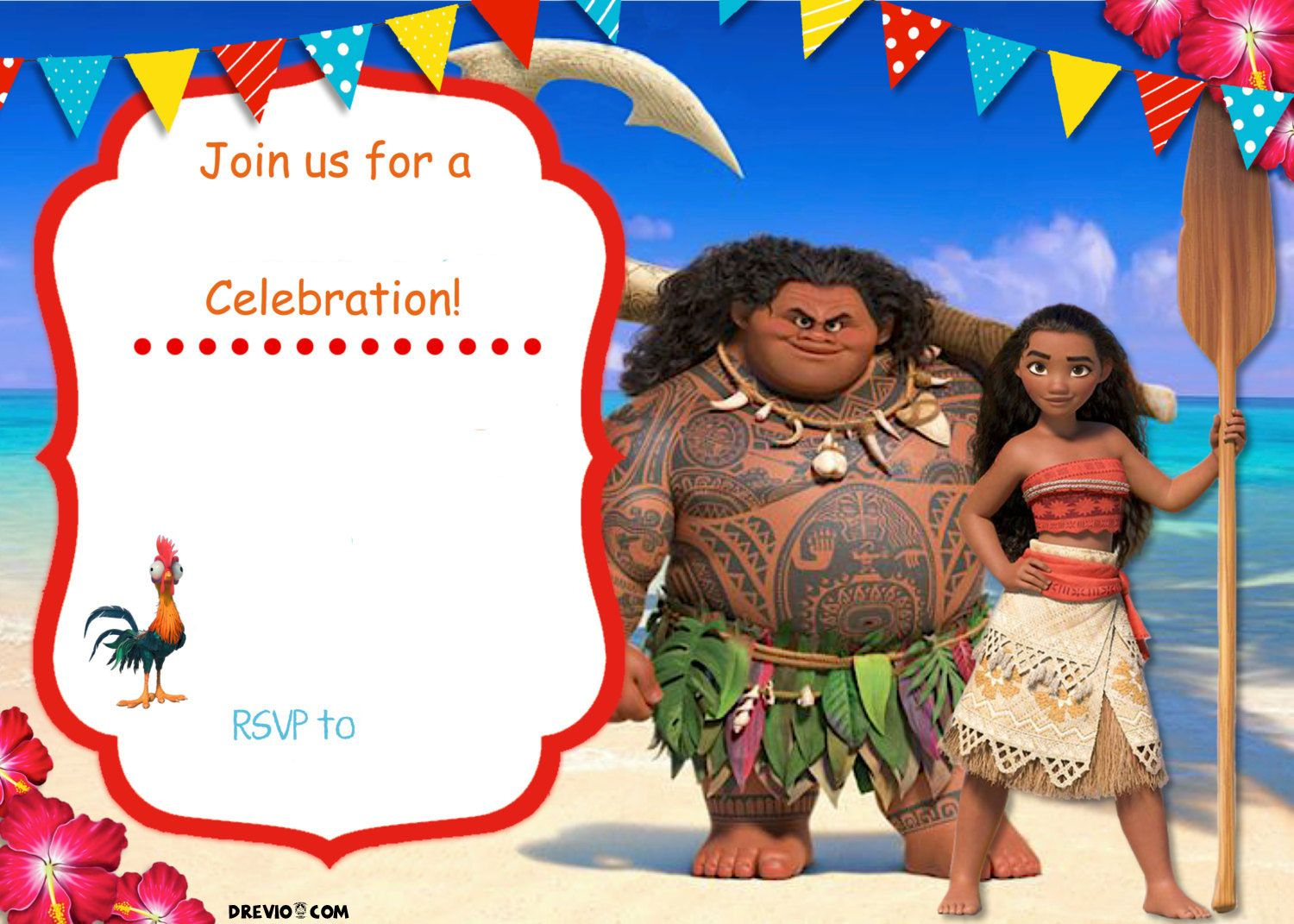 Free Moana Birthday Invitation | Zoey 4Th Birthday | Pinterest - Free Printable Moana Birthday Invitations
