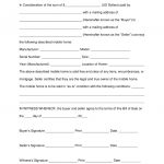 Free Mobile (Manufactured) Home Bill Of Sale Form   Word | Pdf   Free Printable Mobile Home Bill Of Sale