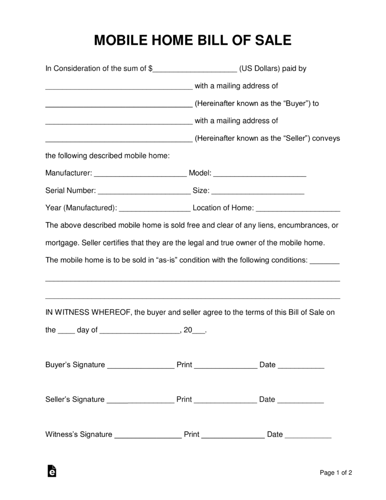 Free Mobile (Manufactured) Home Bill Of Sale Form - Word | Pdf - Free Printable Mobile Home Bill Of Sale