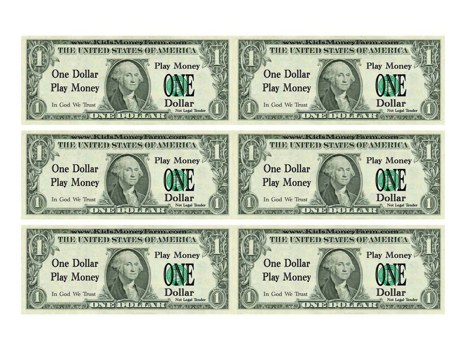 Free Money Printables For Kids To Play With. Good For Counting And - Free Printable Dollar Bill Template