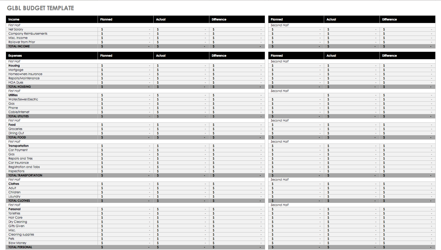 Free Monthly Budget Templates | Smartsheet - Free Printable Monthly Expense Sheet