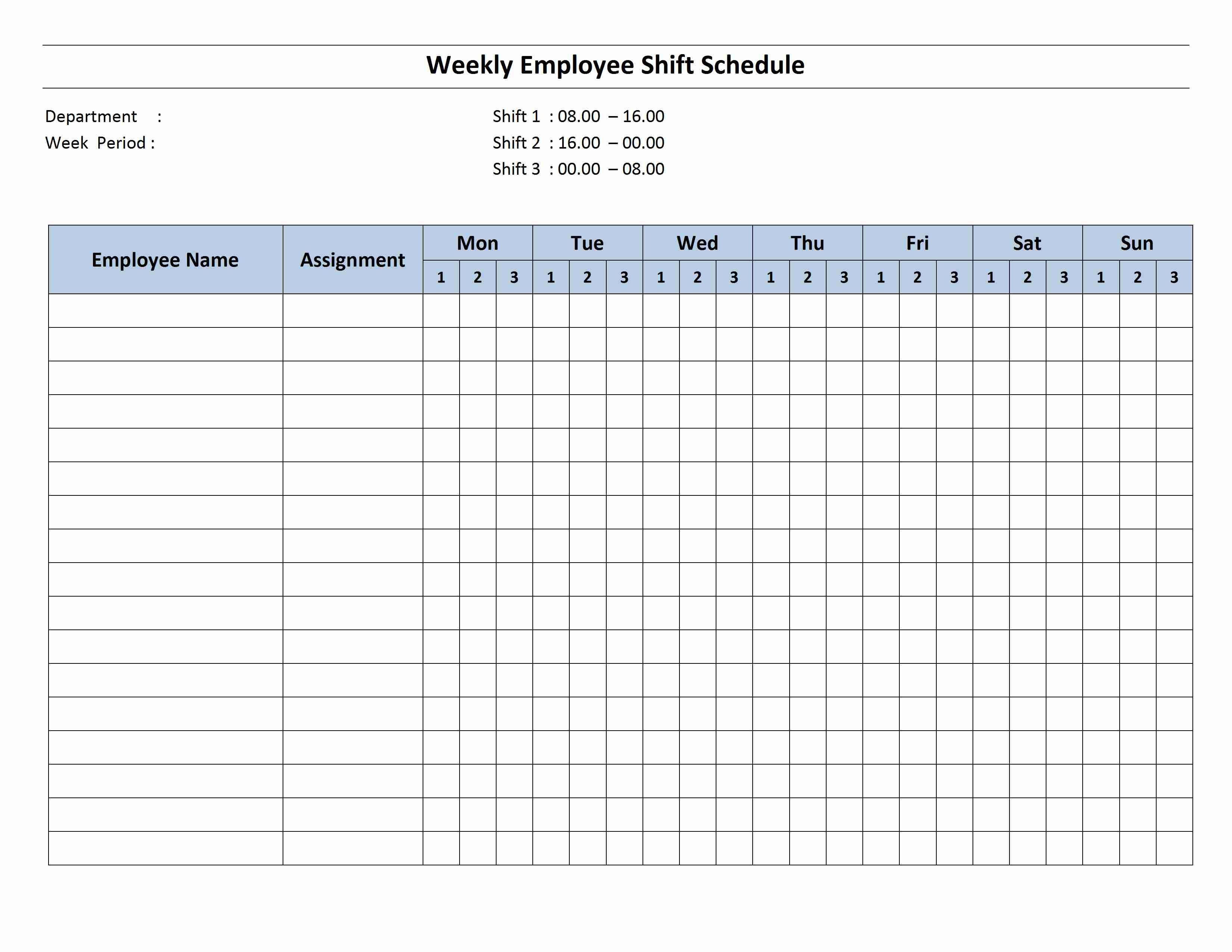 Free Monthly Work Schedule Template   Weekly Employee 8 Hour Shift - Free Printable Monthly Work Schedule Template
