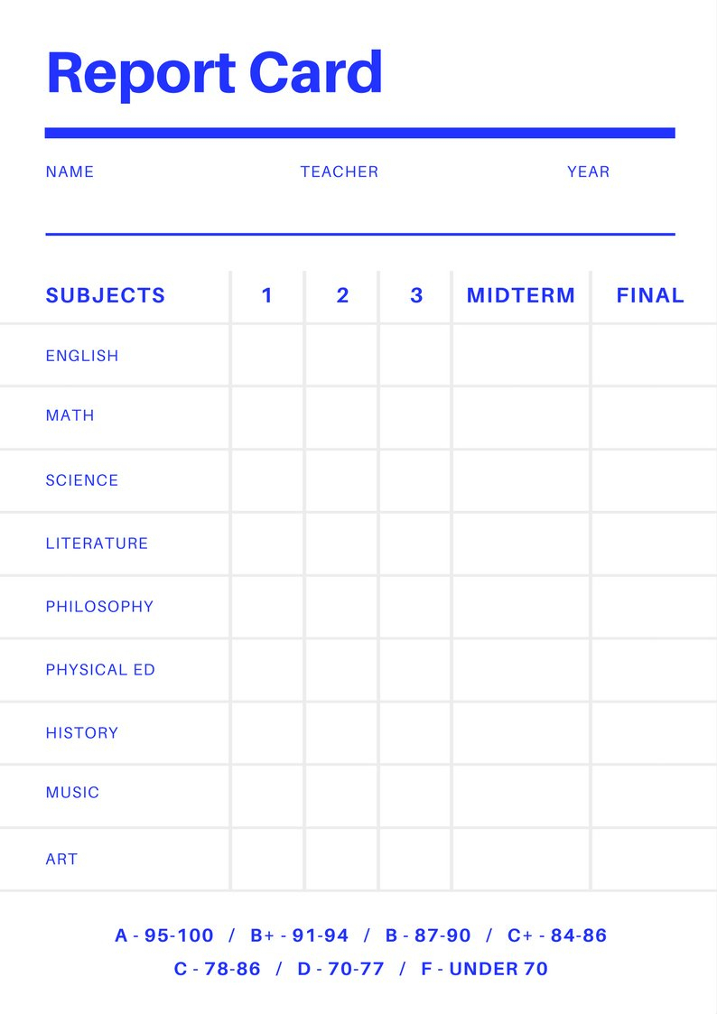 Free Online Report Card Maker: Design A Custom Report Card In Canva - Free Printable Grade Cards