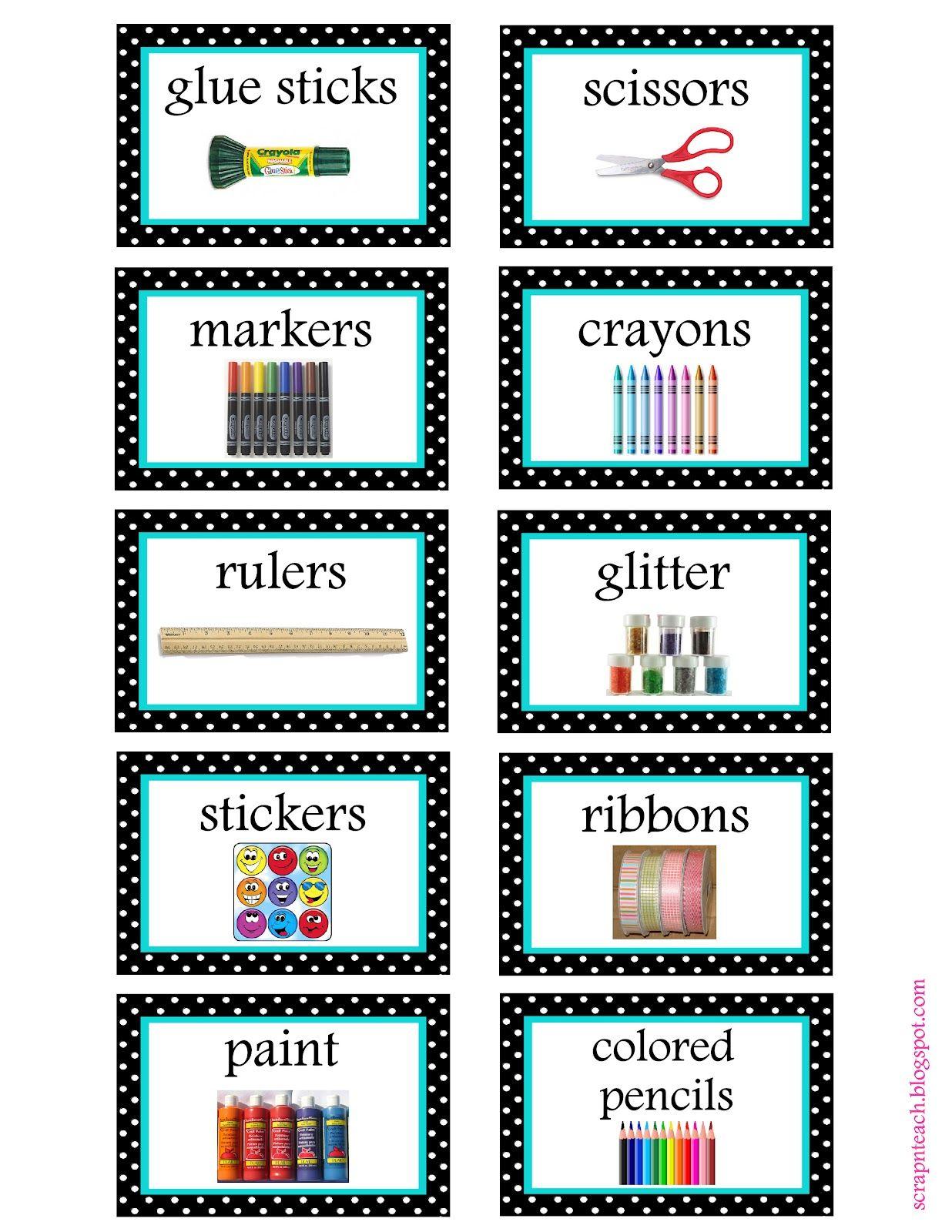 Free Organization Label Printables   Classroom Organization - Free Printable Classroom Labels With Pictures