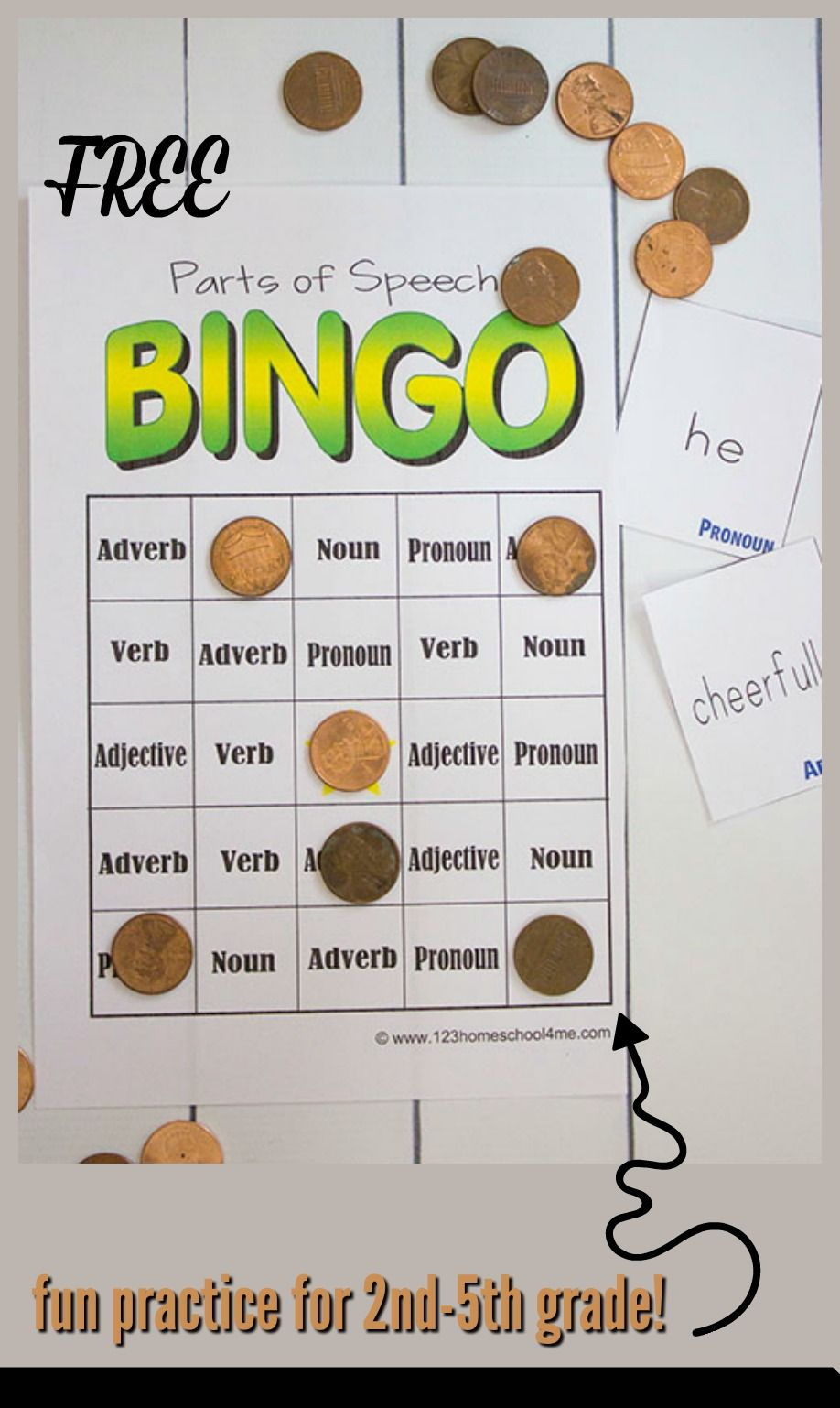 Free Parts Of Speech Game   Kindergarten   Parts Of Speech, Parts Of - Free Printable Parts Of Speech Bingo