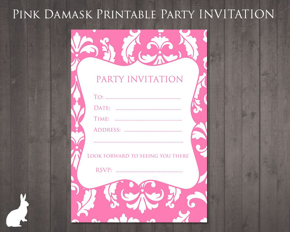 Free Party Invitation Pink Damask | Party Ideas | Pinterest | 13Th - 13Th Birthday Party Invitations Printable Free