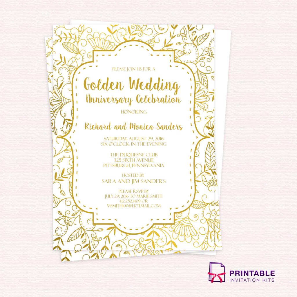 Free Pdf Template - Golden Wedding Anniversary Invitation Template - Wedding Invitation Cards Printable Free