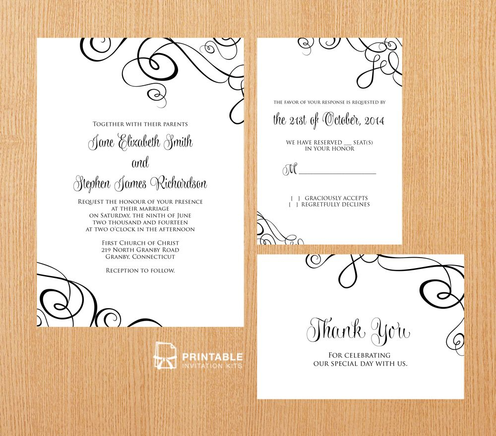 Free Pdf Templates. Easy To Edit And Print At Home. Elegant Ribbon - Free Printable Wedding Invitation Kits