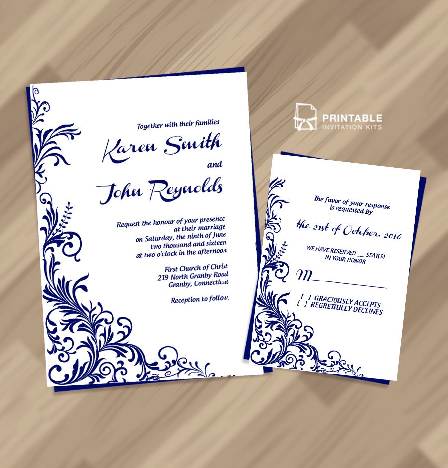 Free Pdf Wedding Invitation Download - Foliage Borders Invitation - Free Printable Wedding Invitation Kits