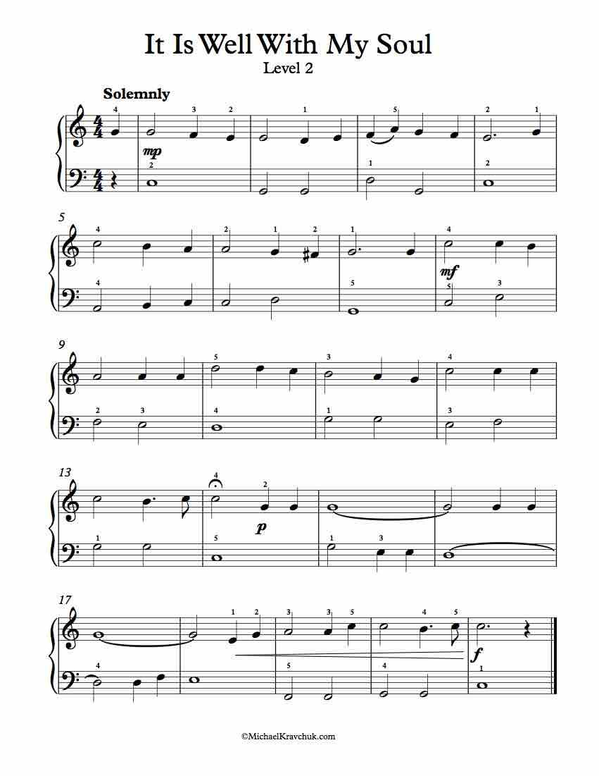 Free Piano Arrangement Sheet Music – It Is Well With My Soul - Free Printable Piano Pieces