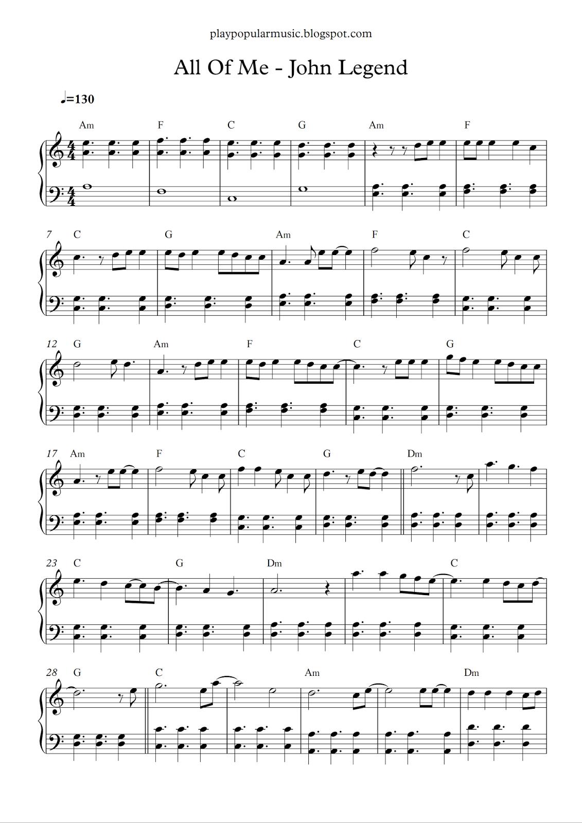 Free Piano Sheet Music: All Of Me - John Legend.pdf What's Going On - Free Piano Sheet Music Online Printable Popular Songs
