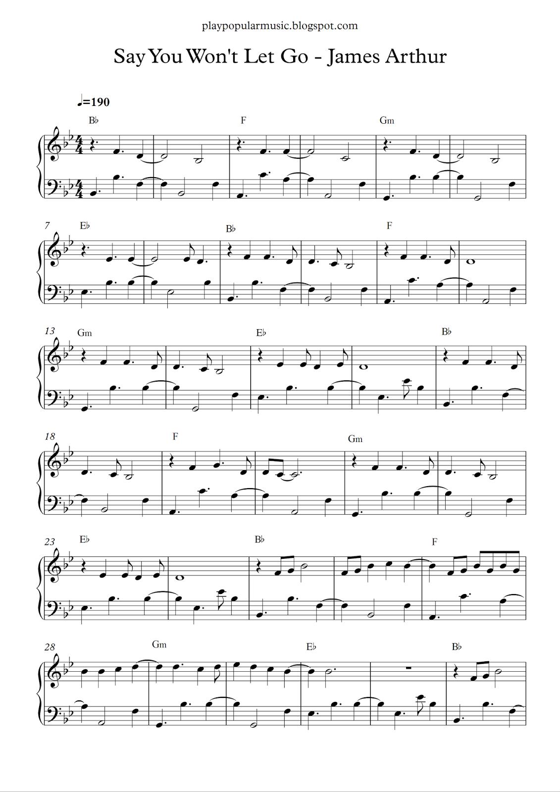 Free Piano Sheet Music: Say You Wont Let Go-James Arthur.pdf I'll - Let It Go Violin Sheet Music Free Printable