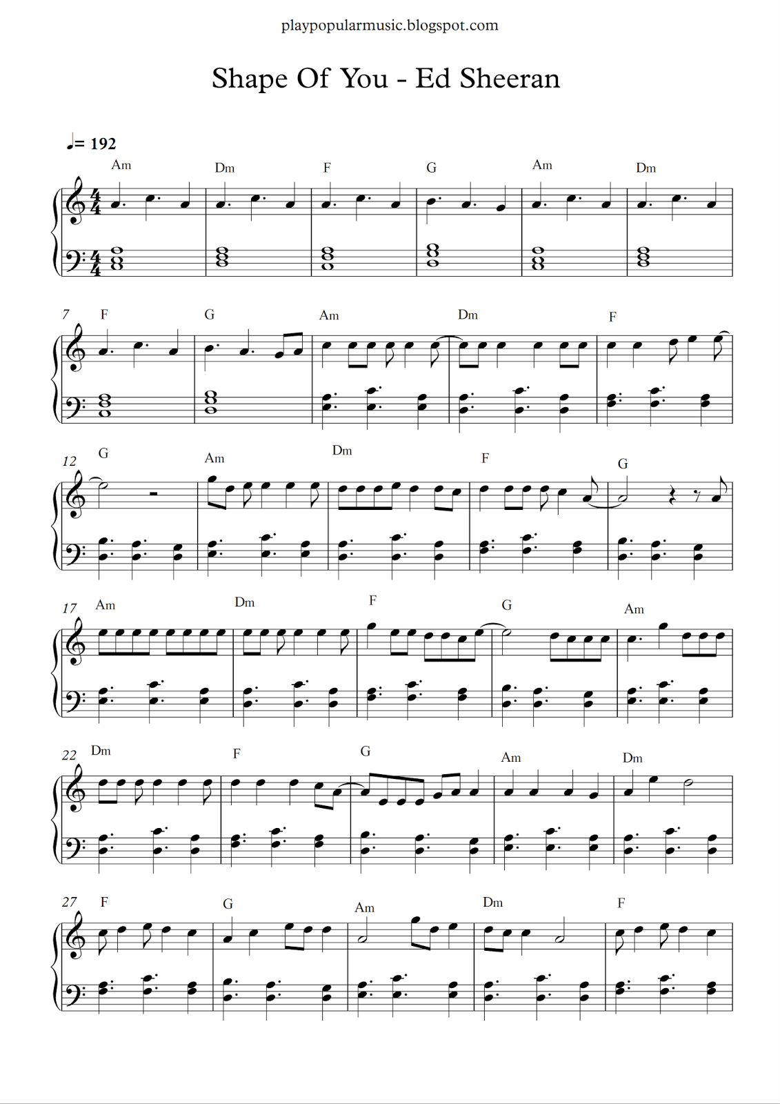 Free Piano Sheet Music: Shape Of You-Ed Sheeran.pdf Your Love Was - Free Printable Music Sheets Pdf
